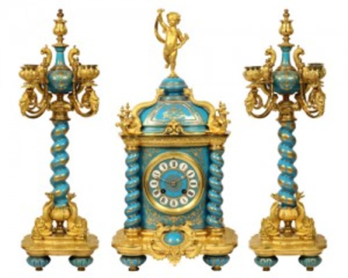 Sevres ormolu mounted clock