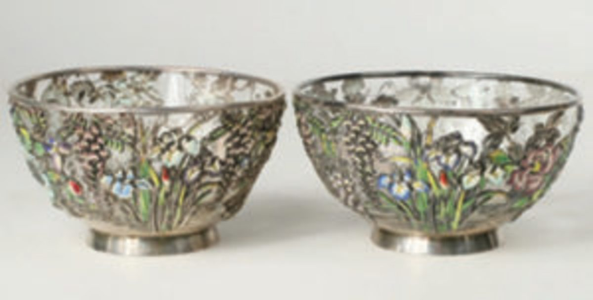 Meiji period silver mounted bowls