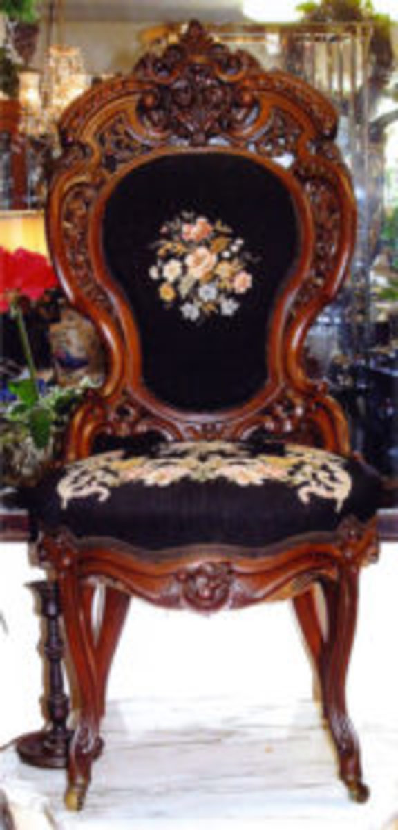 This magnificent Rococo Revival chair in the Henry Clay pattern made by J. & J.W. Meeks, circa 1850, was factory made in New York. Image courtesy of Fred Taylor