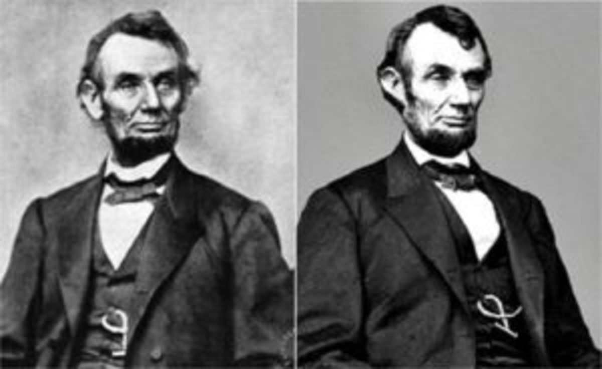 Two images of Abraham Lincoln wearing a braided twist watch chain, a chain completely unlike the gold-link watch chain donated by Lincoln's great-grandson in 1958 to the National Museum of American History, which is typically seen in most photographs of Lincoln.