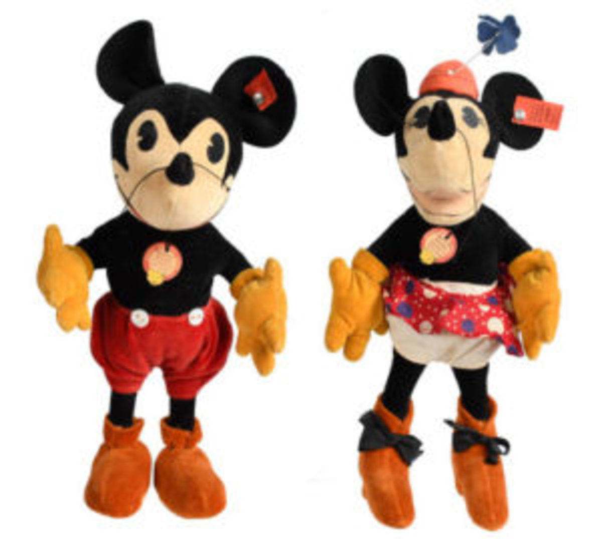 Mickey and Minnie Mouse soft dolls
