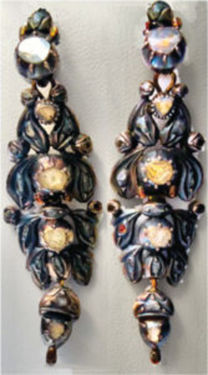 18th century diamond and silver earrings