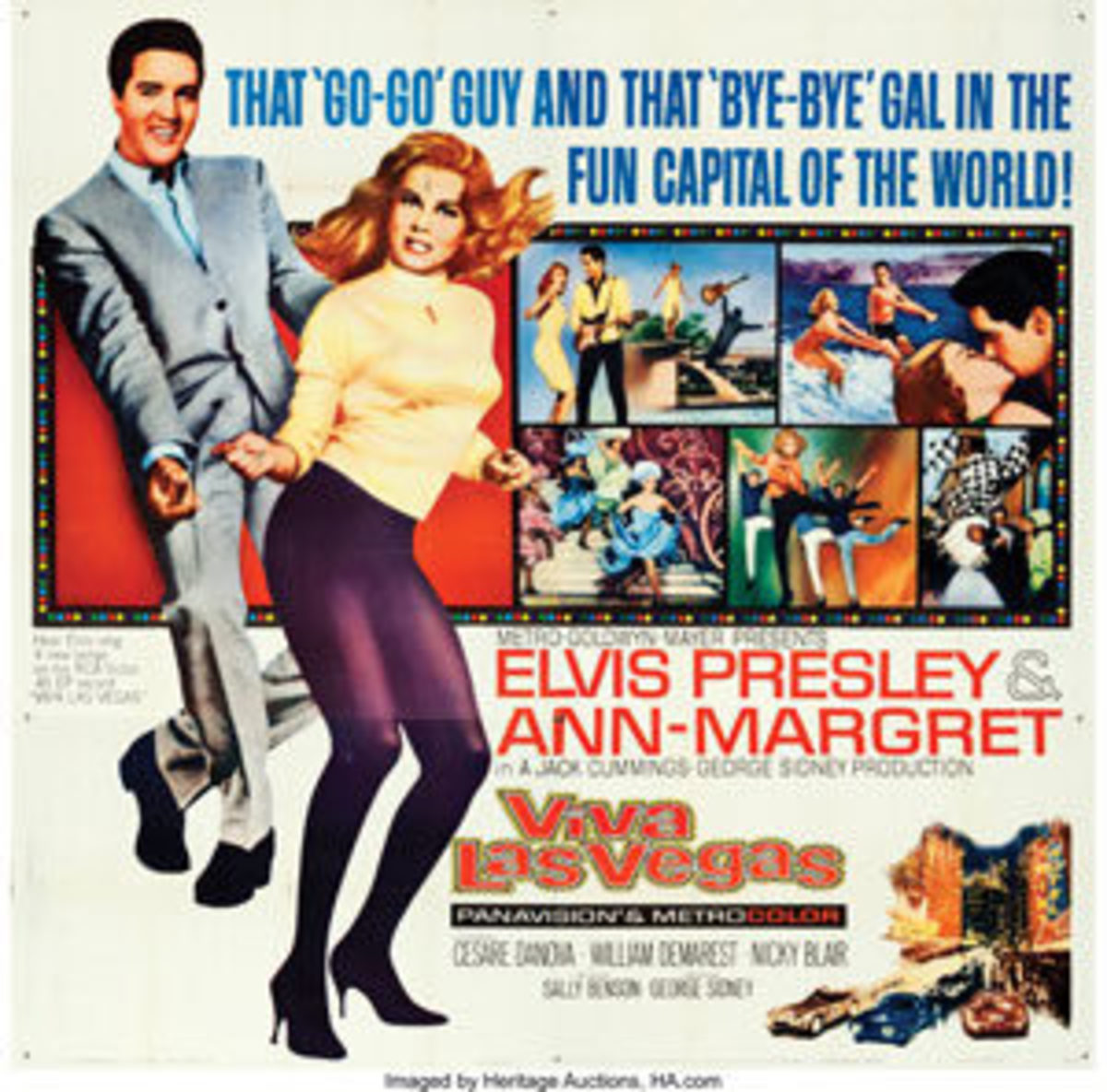 "In Elvis' biggest box office success, ""Viva Las Vegas"" (MGM, 1964), the King plays down-on-his-luck Grand Prix race car driver, Lucky Jackson, who travels to Vegas to raise money so he can compete in an upcoming race. Along the way, he woos the vivacious Ann-Margret and becomes a Las Vegas sensation. This large-format poster, 80"" x 79"", sold for $1,200. Image courtesy of Heritage Auctions"