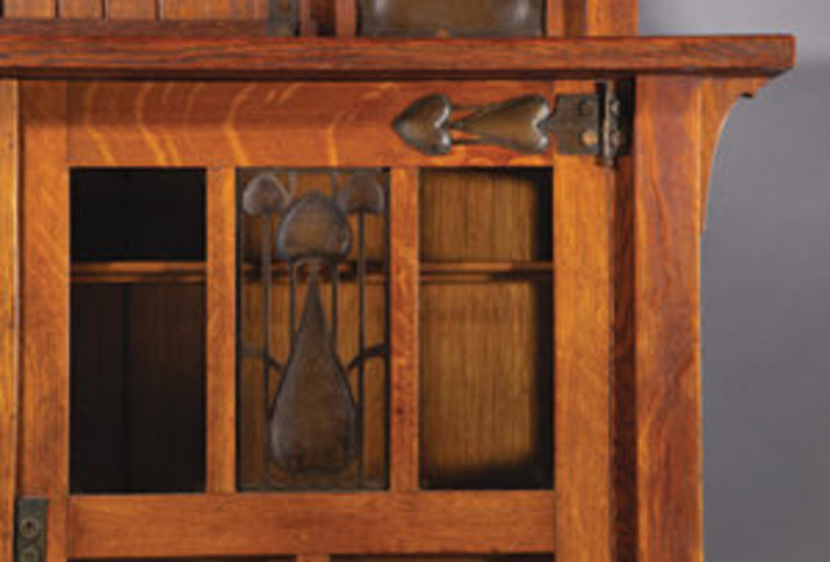 Detail of a Stickley china cabinet, circa 1905. Photos courtesy of Jeffrey S. Evans & Associates, www.jeffreysevans.com