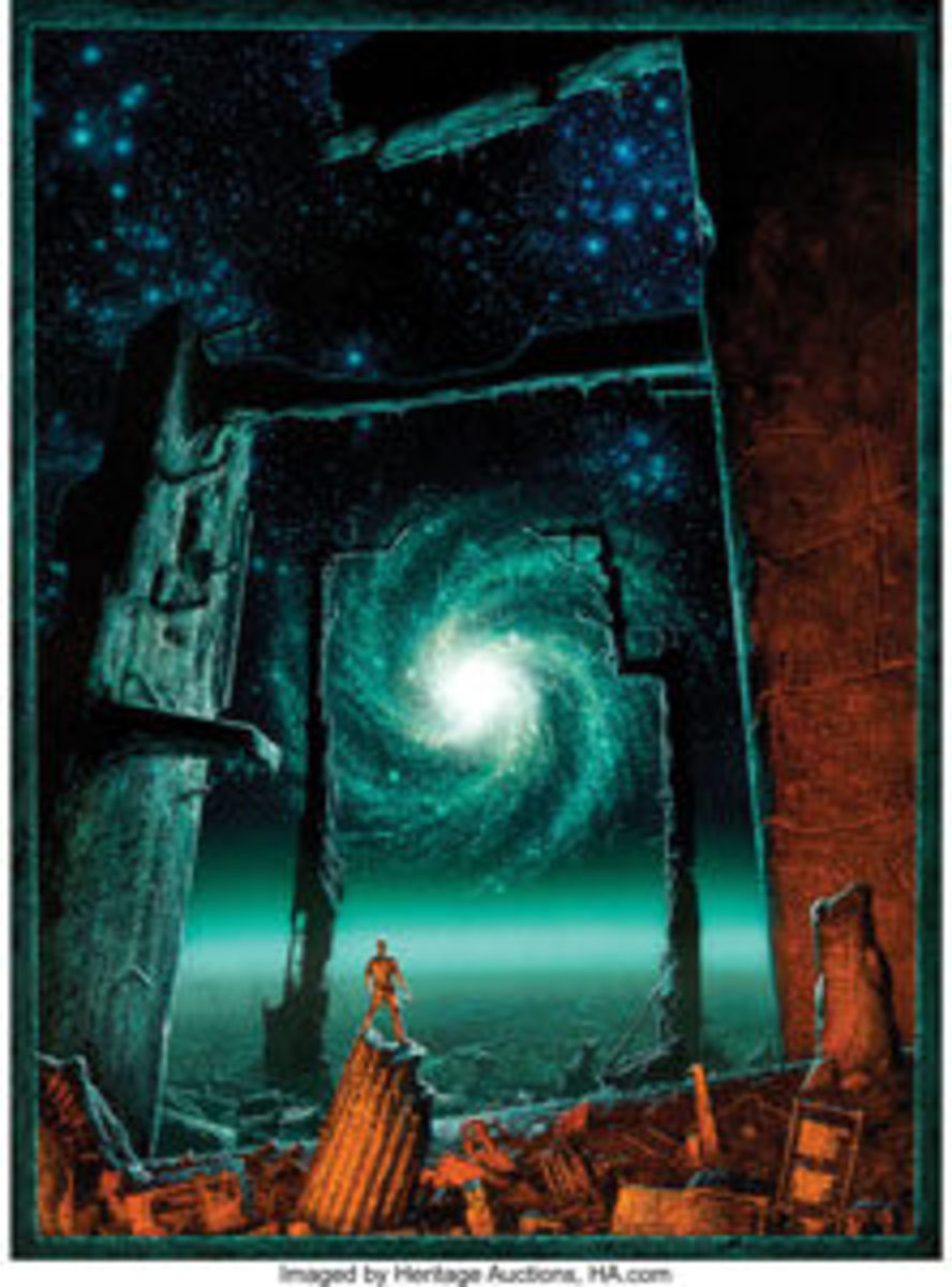 "Michael Whelan's (American, b. 1950) Foundation's Edge paperback cover, 1983, is one of this famed artist's finest paintings ever to appear at auction. Acrylic on board, 29-1/2"" x 21-1/4"", signed and dated lower center, it sold for $68,750 - tens of thousands more than the estimate of $10,000 and up."