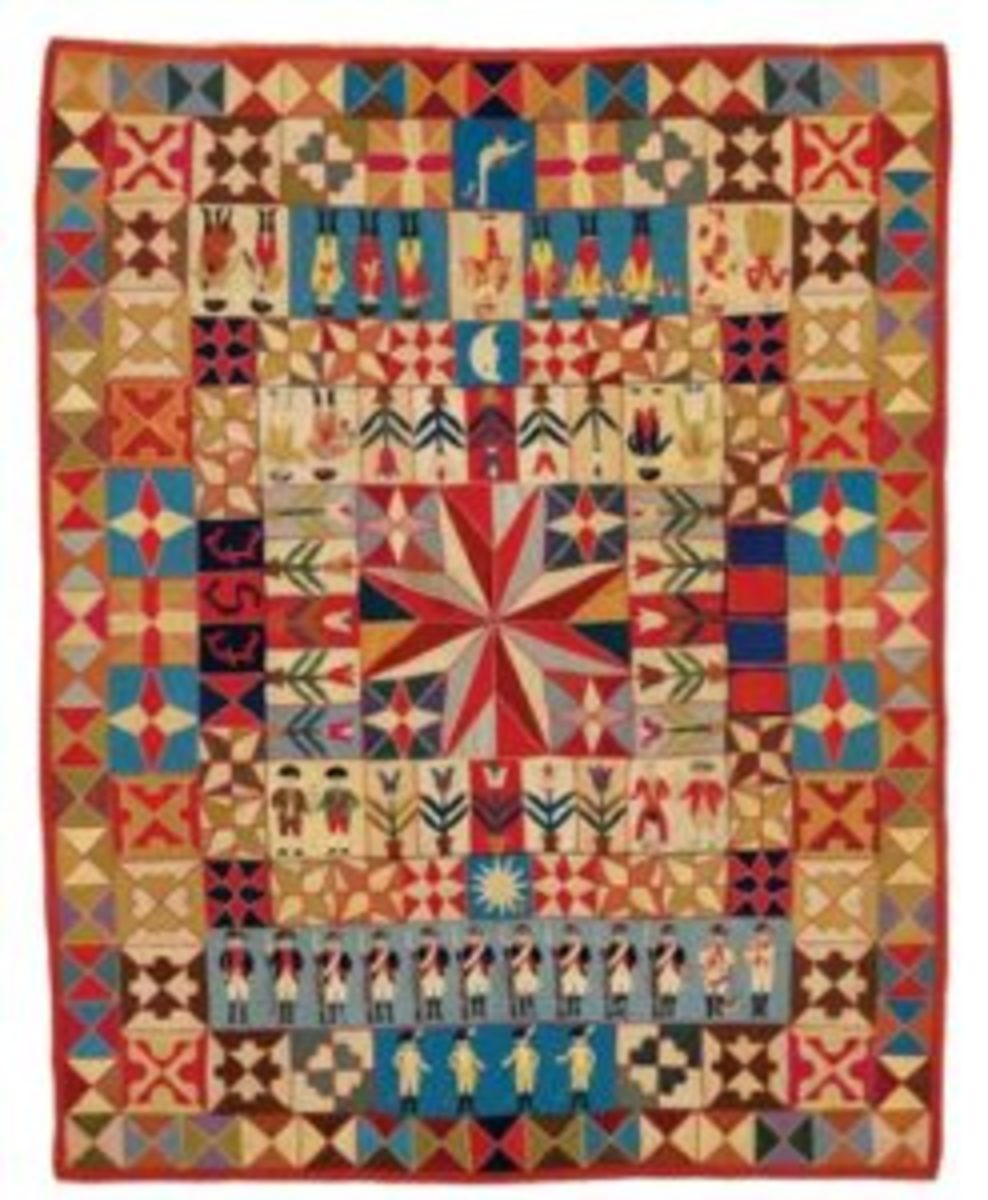 Soldiers and Musicians antique quilt