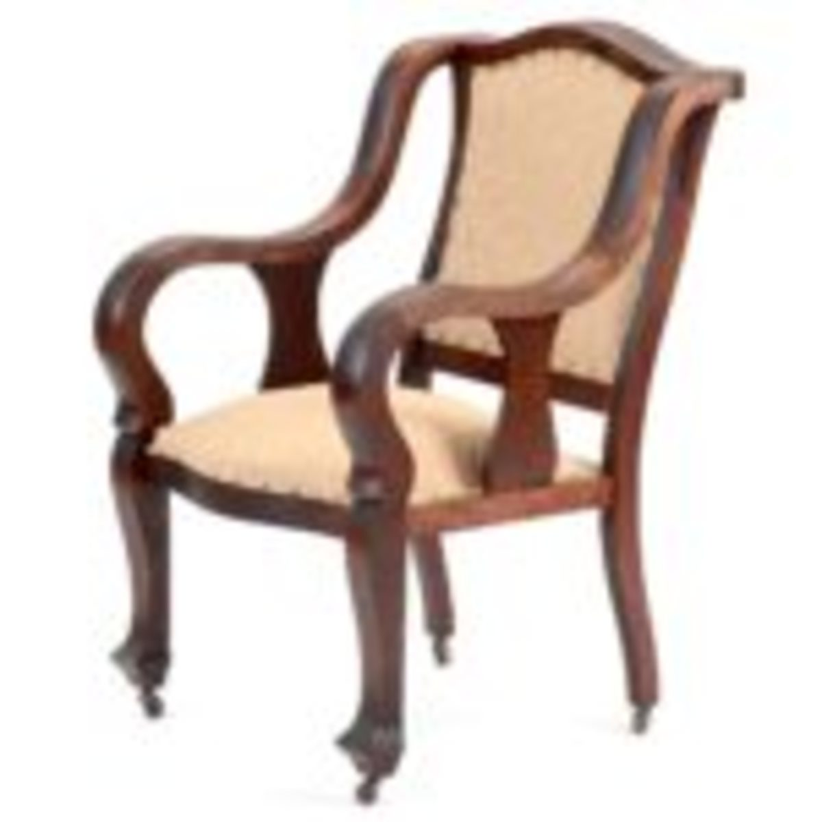 This late Victorian, Empire Revival parlor arm chair is made with a wide birch frame and is stained with a mahogany finish. It sold for $71 at EBTH.com. Courtesy of Everything But The House, www.ebth.com