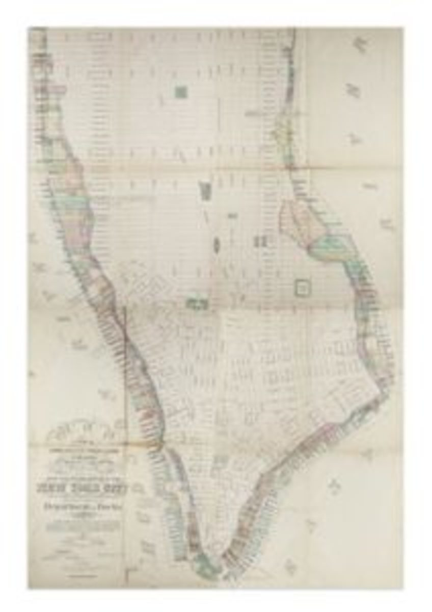 Map of Manhattan issued by the Department of Docks, compiled by Charles K. Graham, 1873. Sold June 7, 2018 for $8,750. (Presale estimate $5,000-$7,500.)