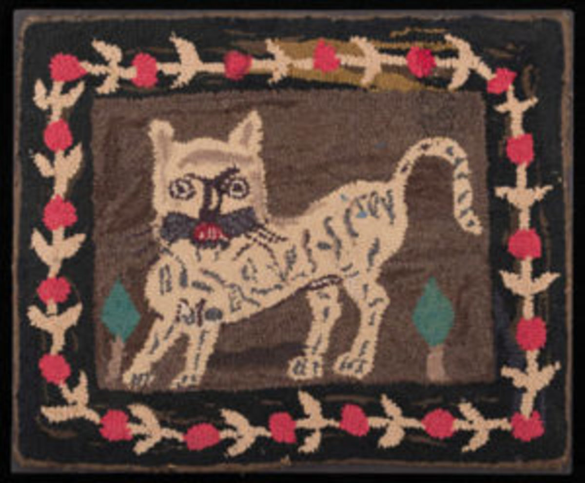 Hooked Rug, wool and cotton on burlap (jute), New England, probably Maine, 1875-1900, Joseph and Linda Caputo Collection, T089-2017