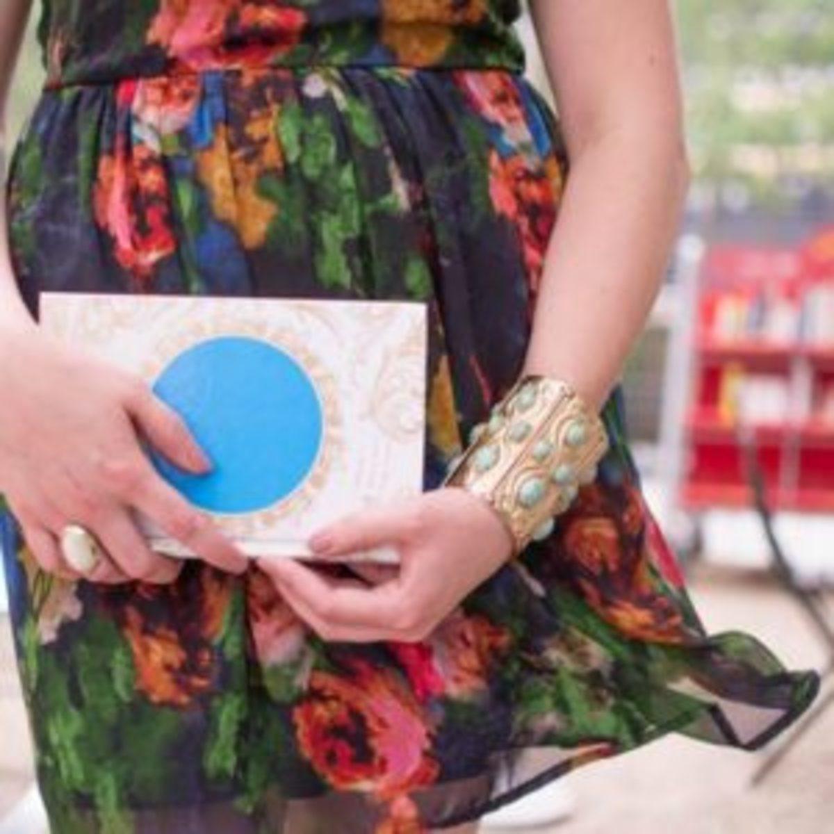 Model wearing Napier repousse cuff bracelet