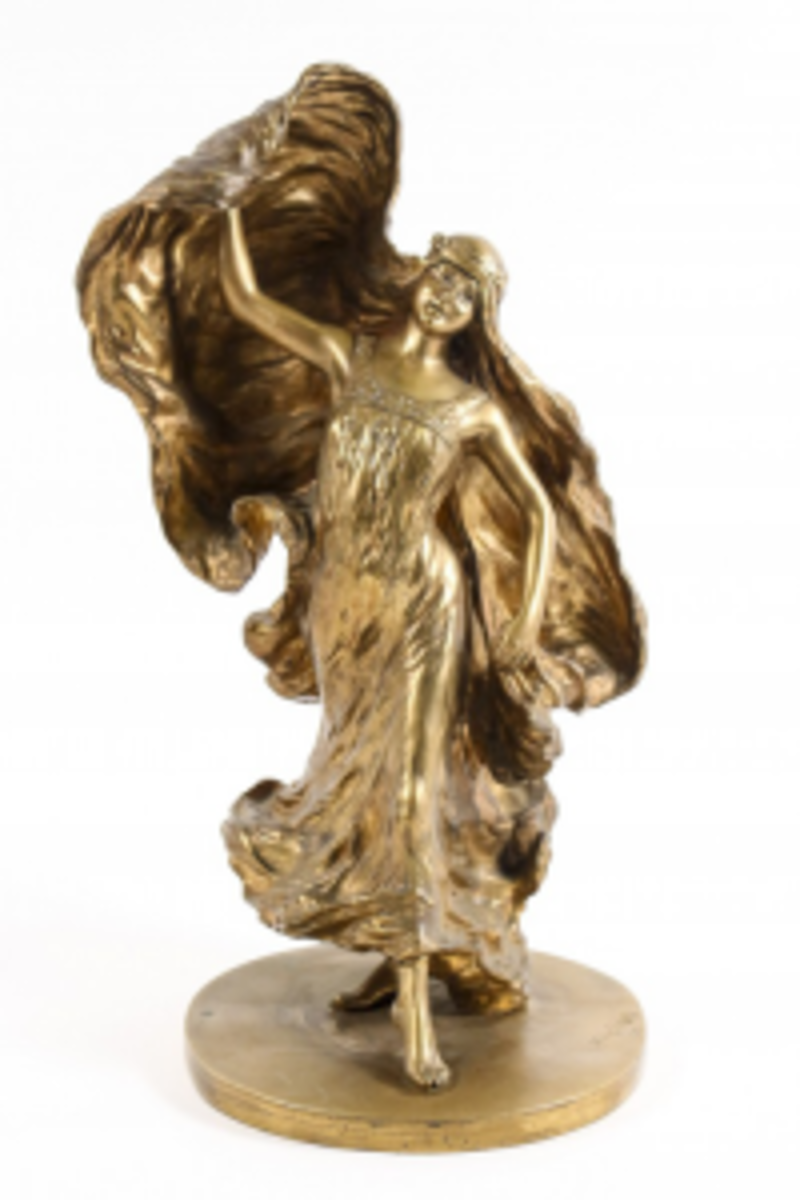 "Gilt bronze sculpture by Leon Delagrange (Fr. 1872-1910), depicting the American dancer Loi Fuller, 16 3/4"" t. (Photo courtesy Ahlers & Ogletree)"