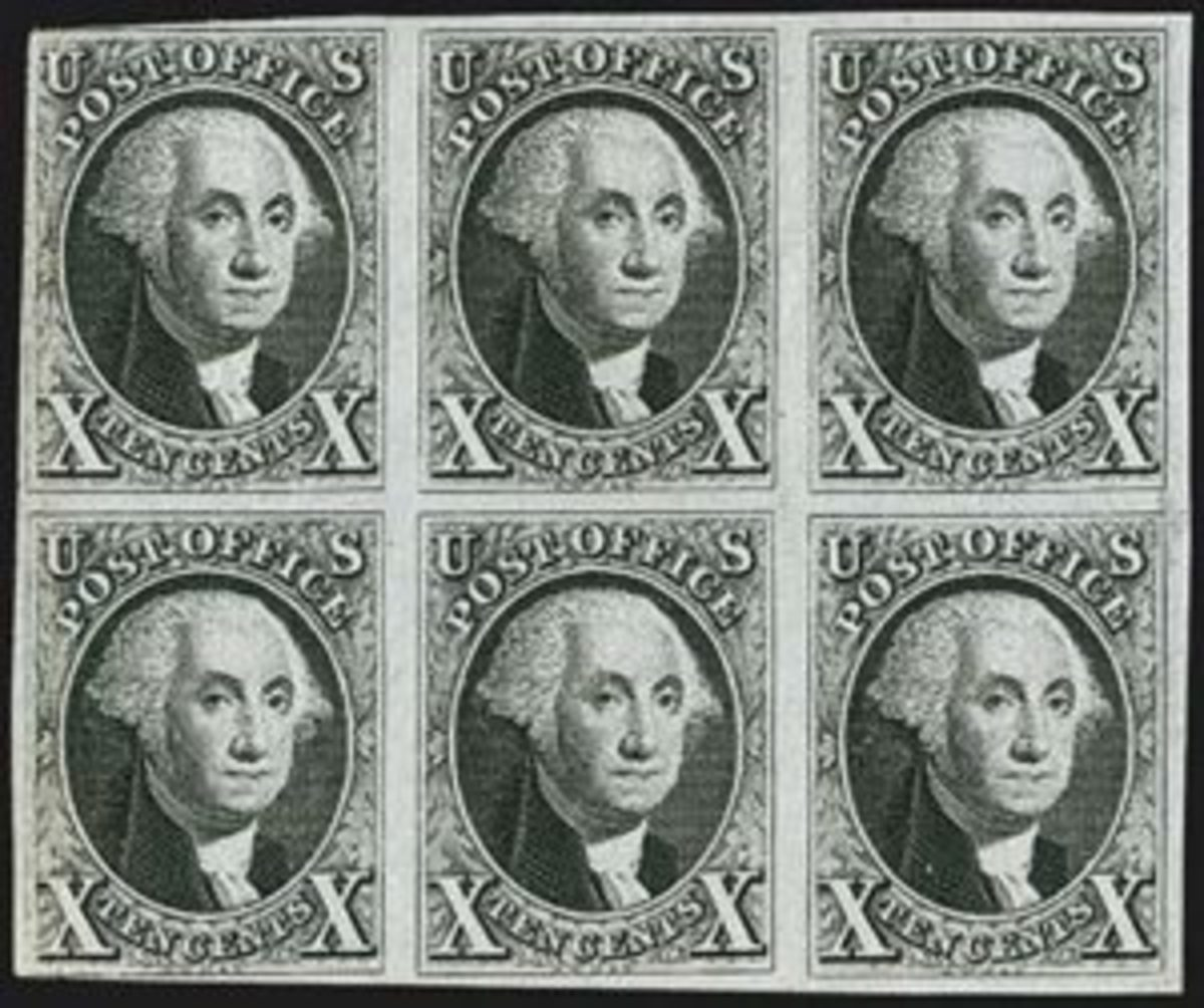 The 'Bible' block of 10-cent 1847 first issue stamps