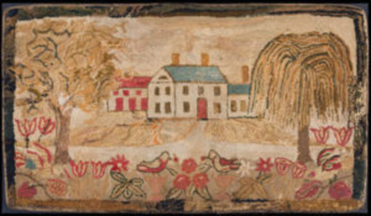 Hooked Rug, attributed to Lucy Trask Barnard (1800-1896), Dixfield, Maine, ca 1850, wool and cotton on linen, Joseph and Linda Caputo Collection, T079-2017, 13.