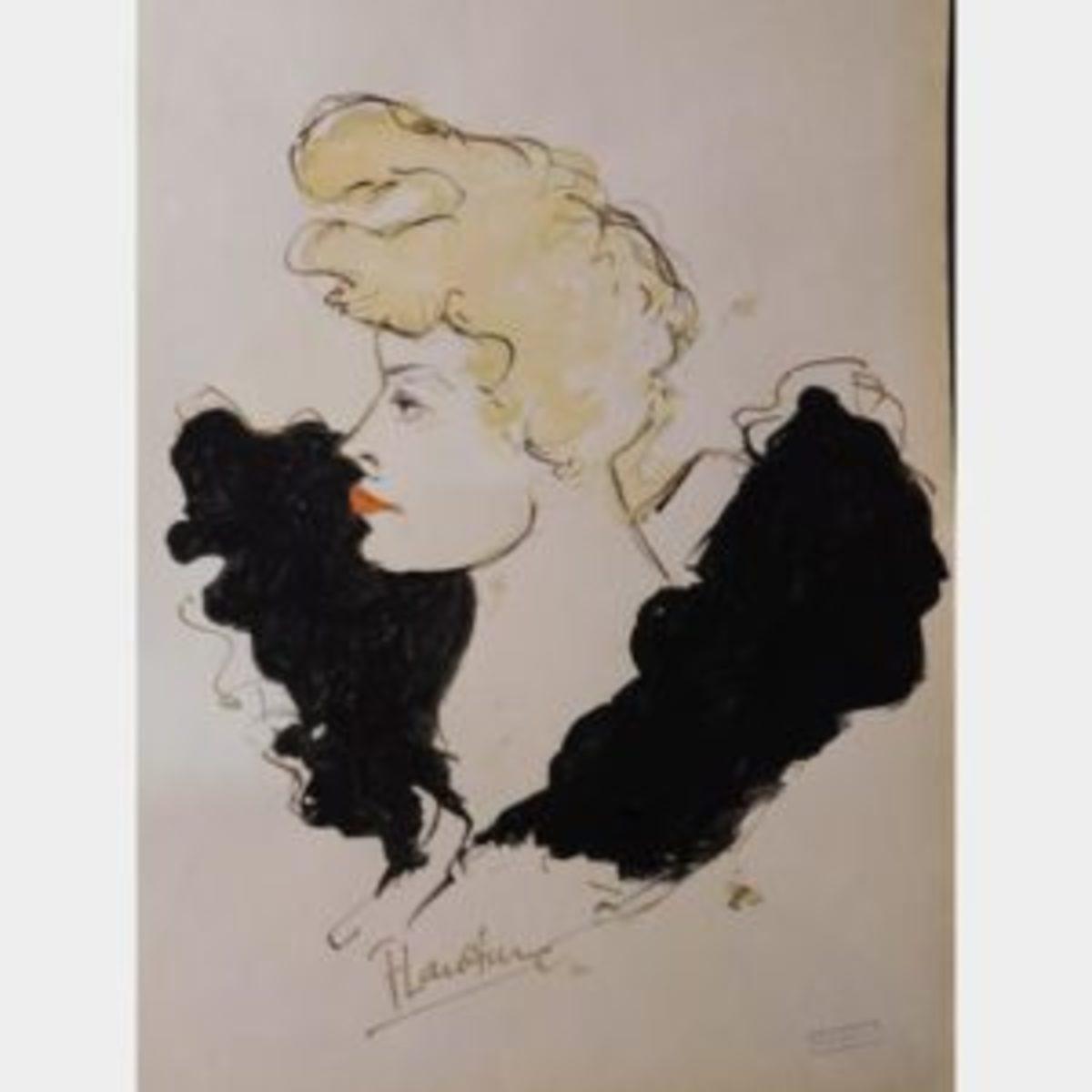 Cabaret portrait by Toulouse-Lautrec