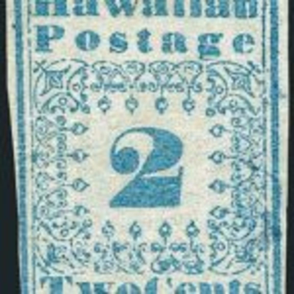 2-cent blue Hawaiian Missionary stamp from the Bill Gross Collection. Photo courtesy Robert A. Siegel Auction Galleries