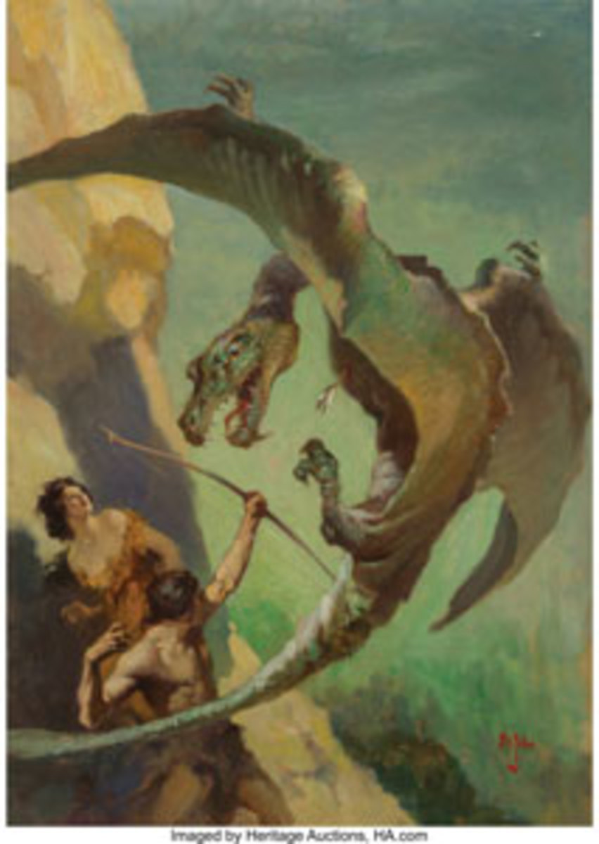James Allen St. John's (American, 1872-1957) At the Earth's Core book dust jacket, 1922, an iconic cover painting for a hugely important book by one of the fathers of fantasy illustration. This is one of the finest examples to ever come to auction and it was the star lot, selling for $112,500, thousands more than the estimate of $75,000 and up. All images courtesy of Heritage Auctions