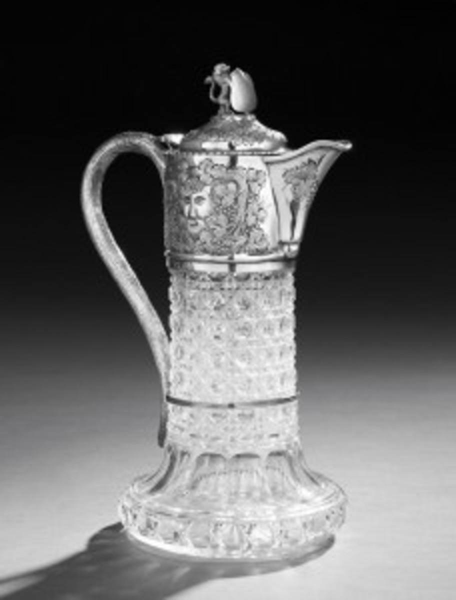 Silver cut glass claret jug