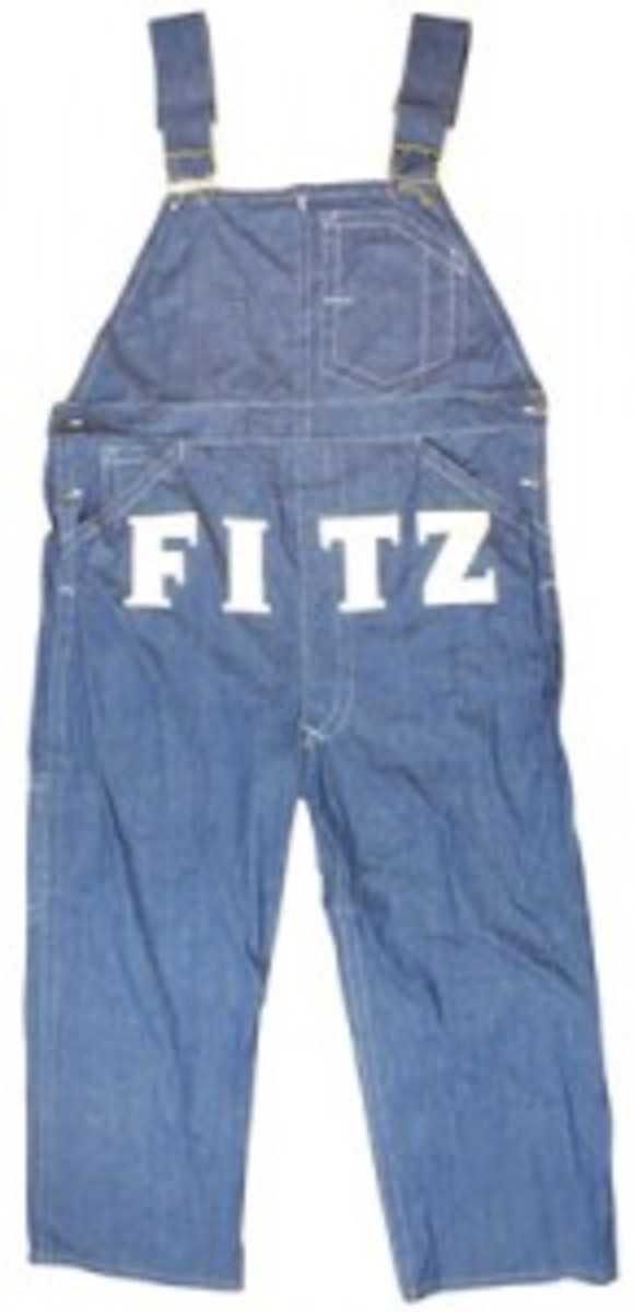 Oversized Fitz overalls display