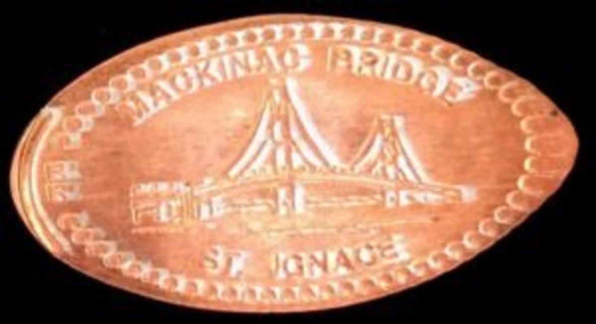 Mackinac Bridge elongatd penny