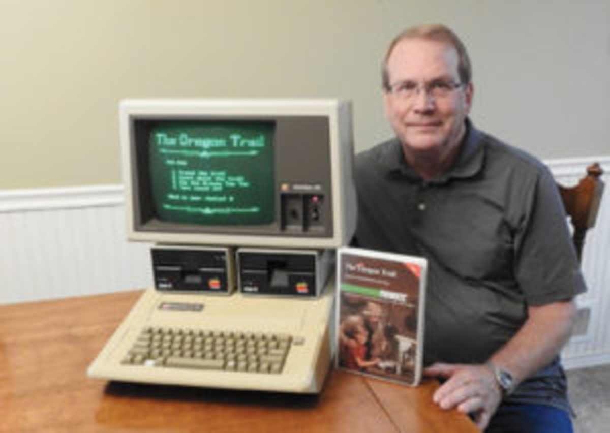 Craig Solomonson with early Apple computer