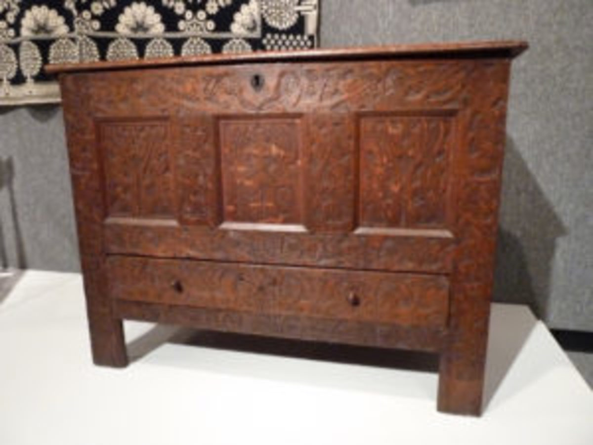 "Surely this Hadley chest, circa 1694, seen at the Museum of Arts and Sciences in Daytona Beach, Fla., qualifies as ""handmade."" Or maybe not. Certain tools like axes and chisels that qualify as machinery were used in its construction. Image courtesy of Fred Taylor"