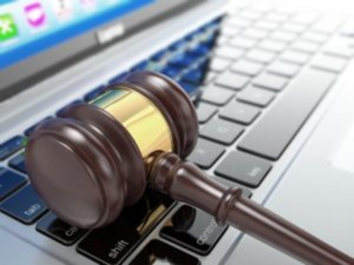 Auction gavel laptop