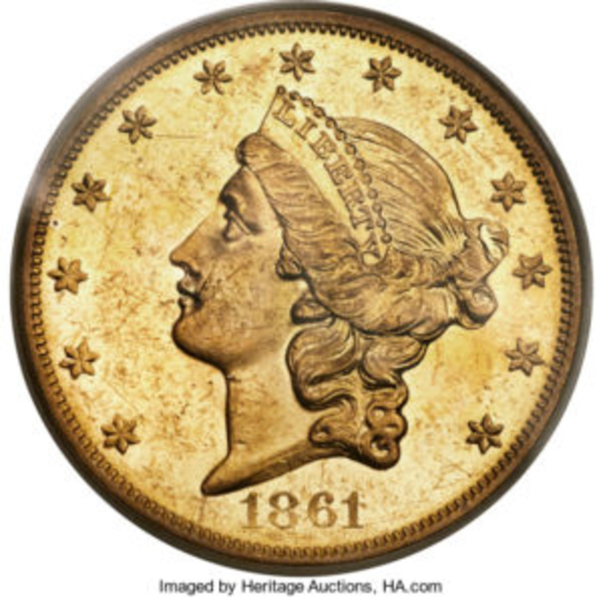 1861-O double eagle $20 gold coin