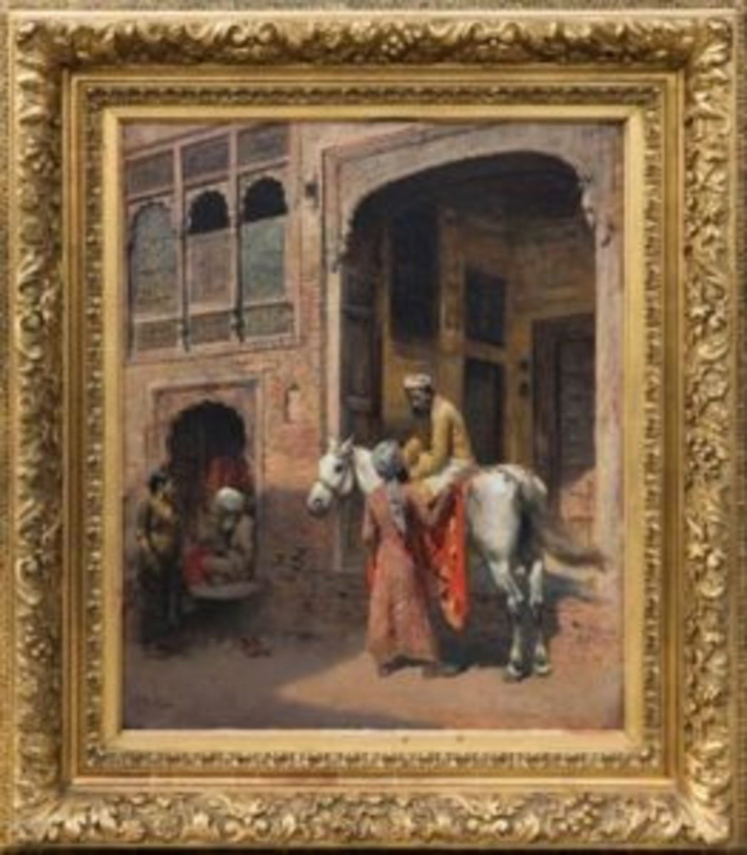 "Outdoor figural oil on canvas rendering by Edwin Lord Weeks (American, 1849-1903), 24 inches by 20 inches in a gold gilt frame and signed ""E. L. Weeks"" lower left ($82,600)."