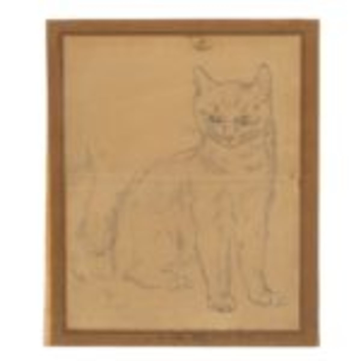 Léonard Tsuguharu Foujita (Japanese-French, 1886-1968), Staring cat, circa 1930, pencil drawing on paper, $2,000-$4,000. Photo courtesy Andrew Jones Auctions