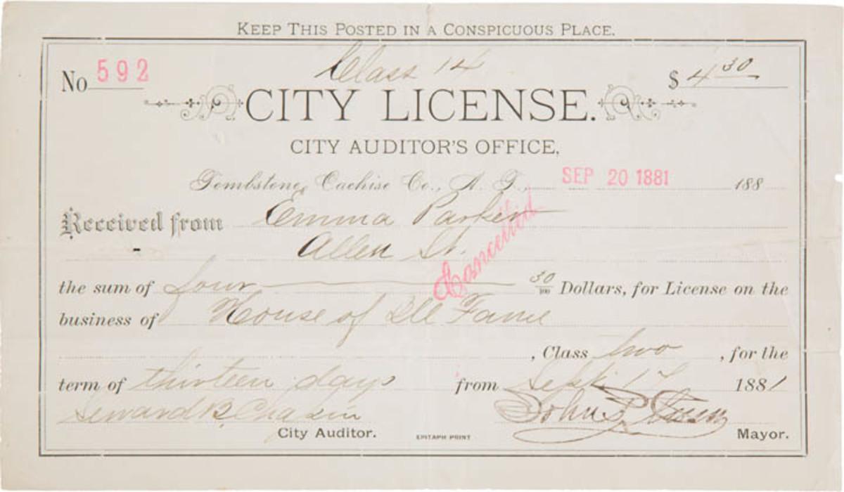 Tombstone Arizona brothel license