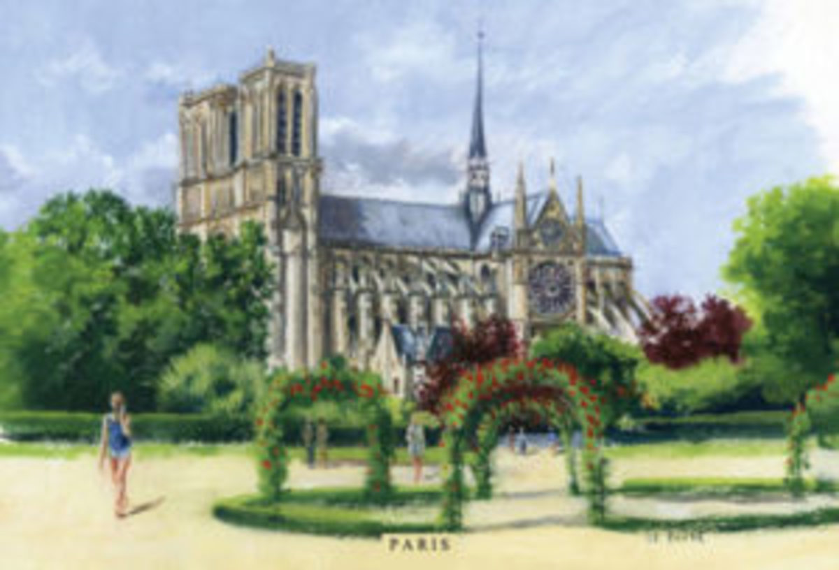 Artist postcard depicting Notre-Dame de Paris by Guillaume Le Baube, Montreuil, Île-de-France, France. Visit his shop on Etsy at https://www.etsy.com/shop/LeBaube