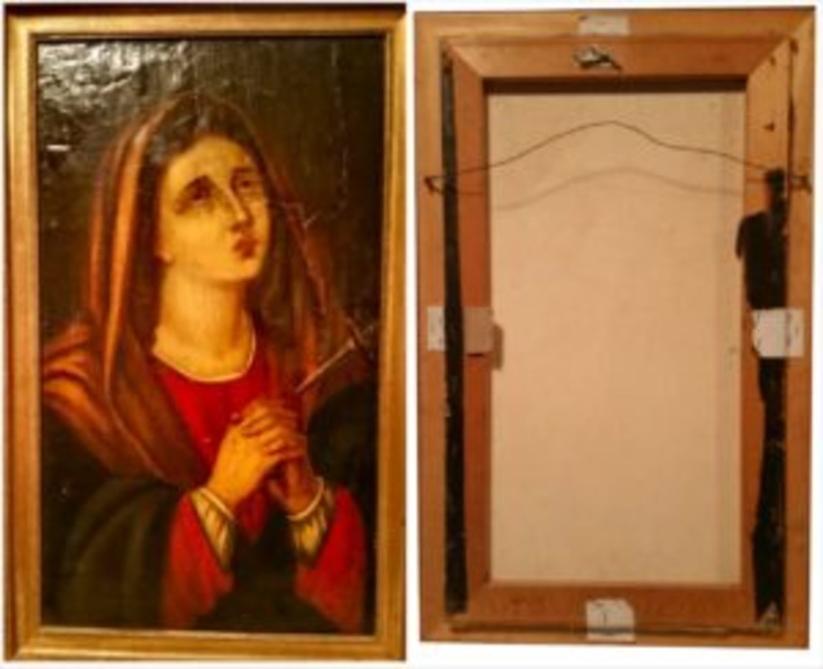 17th century saint painting with relining back