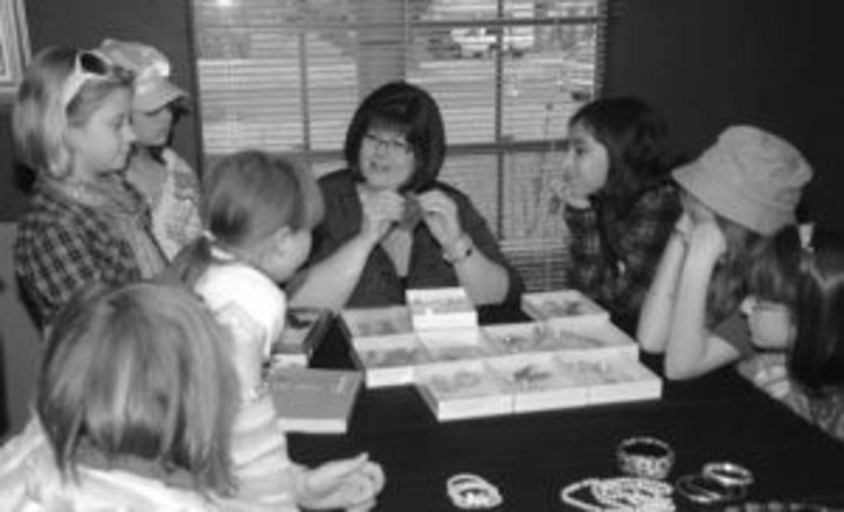 Pamela Wiggins sharing wisdom with kids