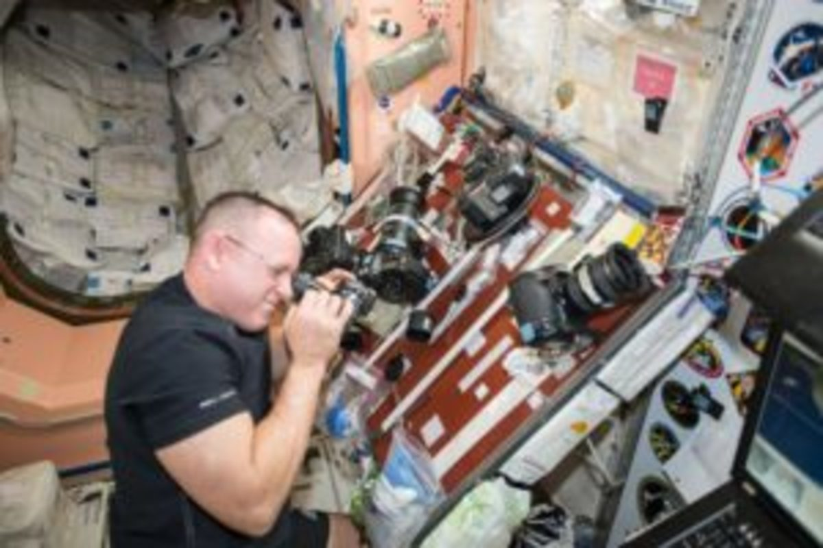 Cleaning Nikon cameras on International Space Station