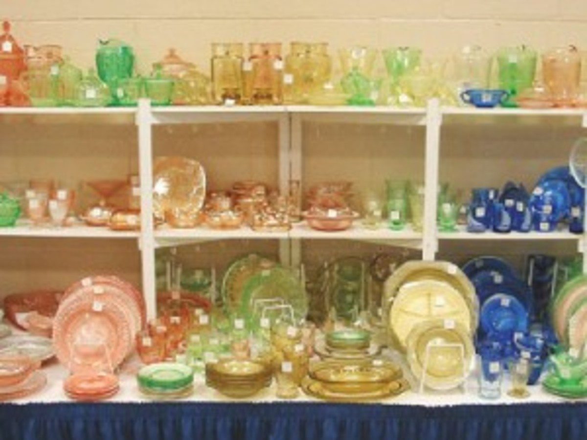 Shelves of colorful depression glass are expected to line the booths during the Nashville glass show. (Photo courtesy Fostoria Glass Society)