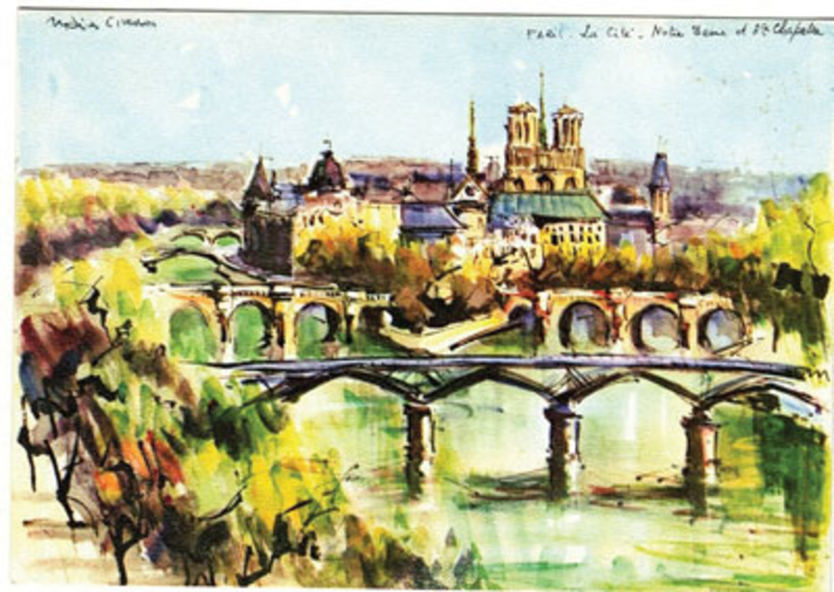 Art postcard featuring a watercolor of Notre-Dame de Paris and the surrounding area by Marius Girard.