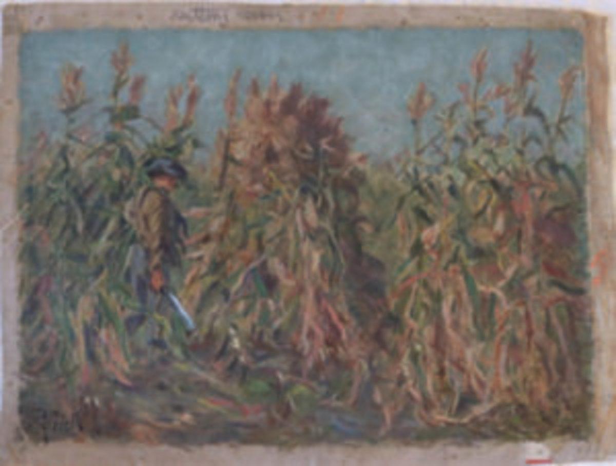 Cutting Corn painting