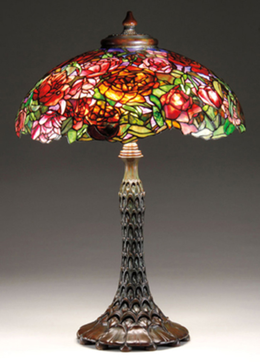 Rose bouquet on a brass stand leaded glass lamp by Joe Porcelli. (Photo courtesy Joseph Porcelli Studio)