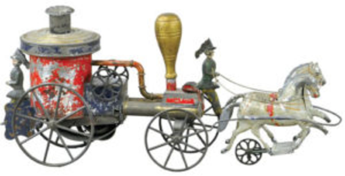 Painted tin fire pumper