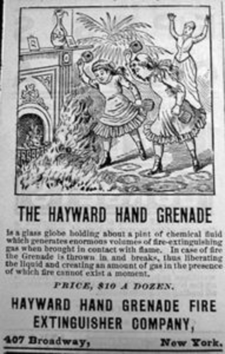 An advertisement from the 1880s touting Hayward's Hand Fire Grenades for home use; driving home the point with illustration of two young girls attacking fire in the parlor with Hayward's extinguishers.
