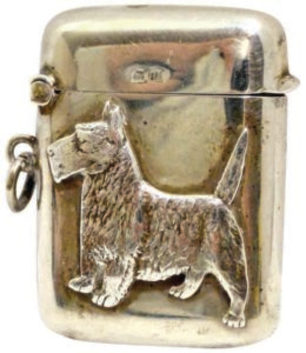 President FDR's dog, Fala, popularized Scottie dogs as collectibles. This sterling silver match safe features a highly detailed relief of one. It was made by Thomas Millward & Co of Birmingham, England, c.1919. Image courtesy of A Dog's Tale Collectibles