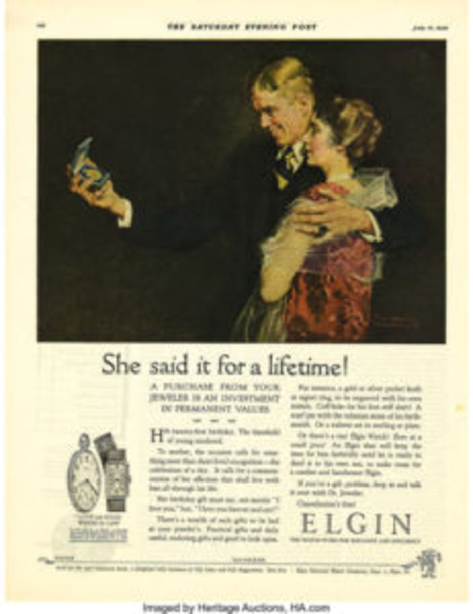 Elgin Watches ad, Saturday Evening Post, illustrated by Norman Rockwell.