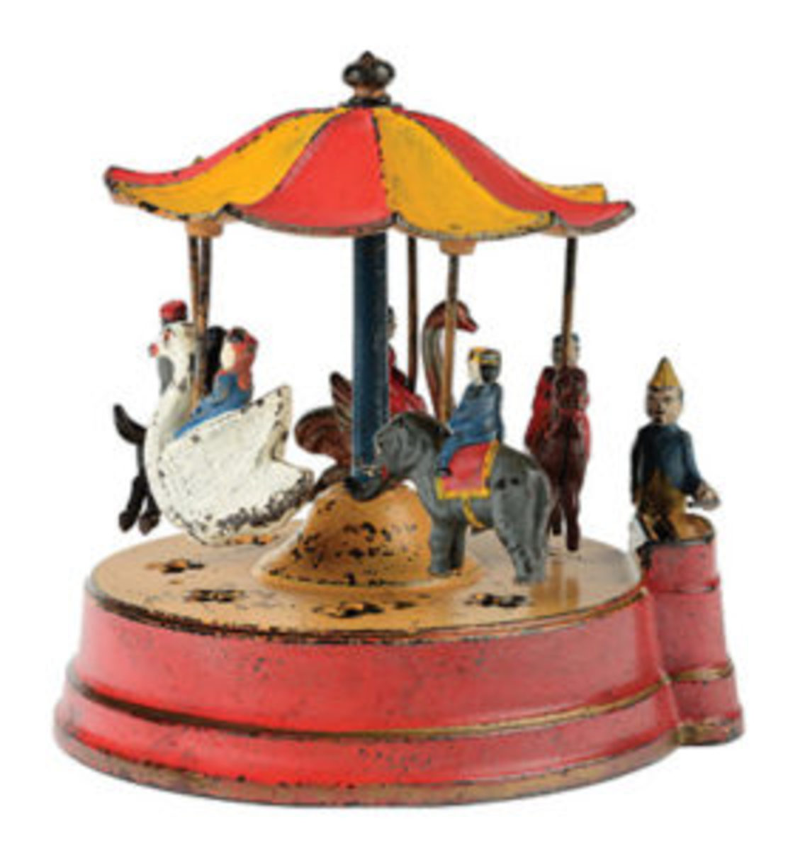 "Kyser & Rex ""Merry-Go-Round"" cast-iron mechanical bank,provenance: Donal Markey collection, sold for $55,350."