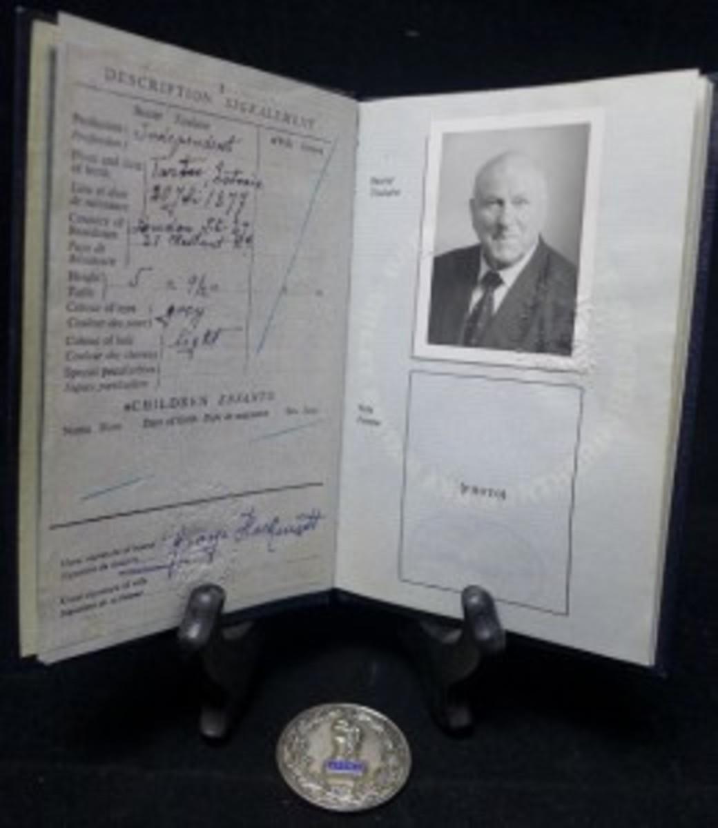 Hackenschmidt passport and medal