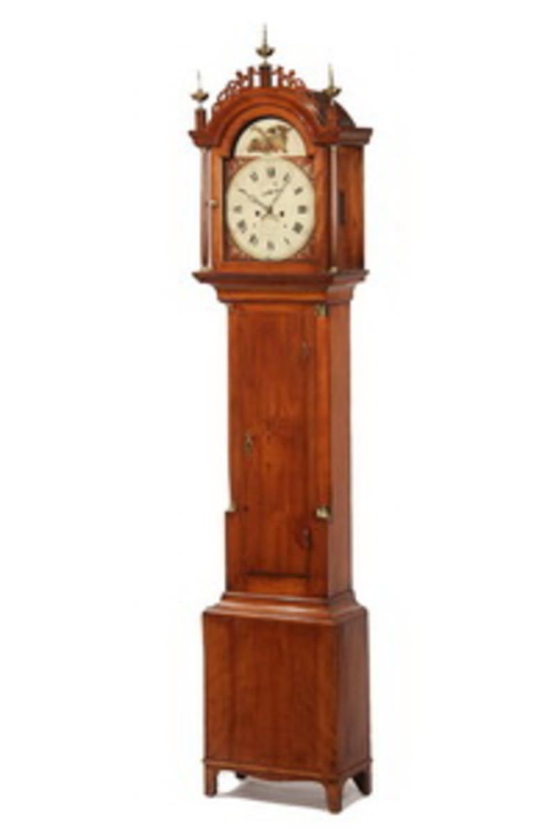 Hepplewhite period mahogany tall case clock