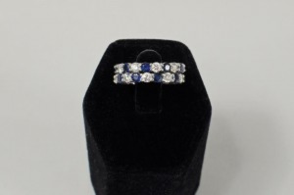 Platinum, diamond and sapphire wedding bands