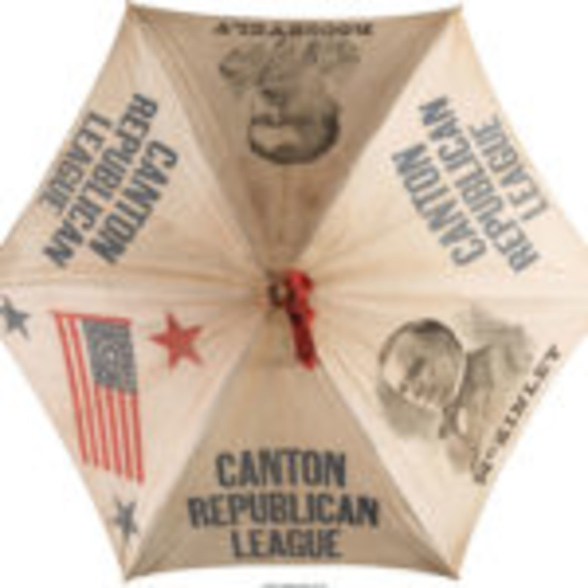 "Umbrella, 1900, cotton parasol or umbrella with portraits of the 1900 Republican nominees, McKinley & Roosevelt, an American flag and the imprint ""Canton Republican League"" on three panels, manufactured in Norwalk, Ohio, McKinley conducted the campaign from his front porch in Canton. $300Courtesy of Heritage Auctions, www.ha.com"