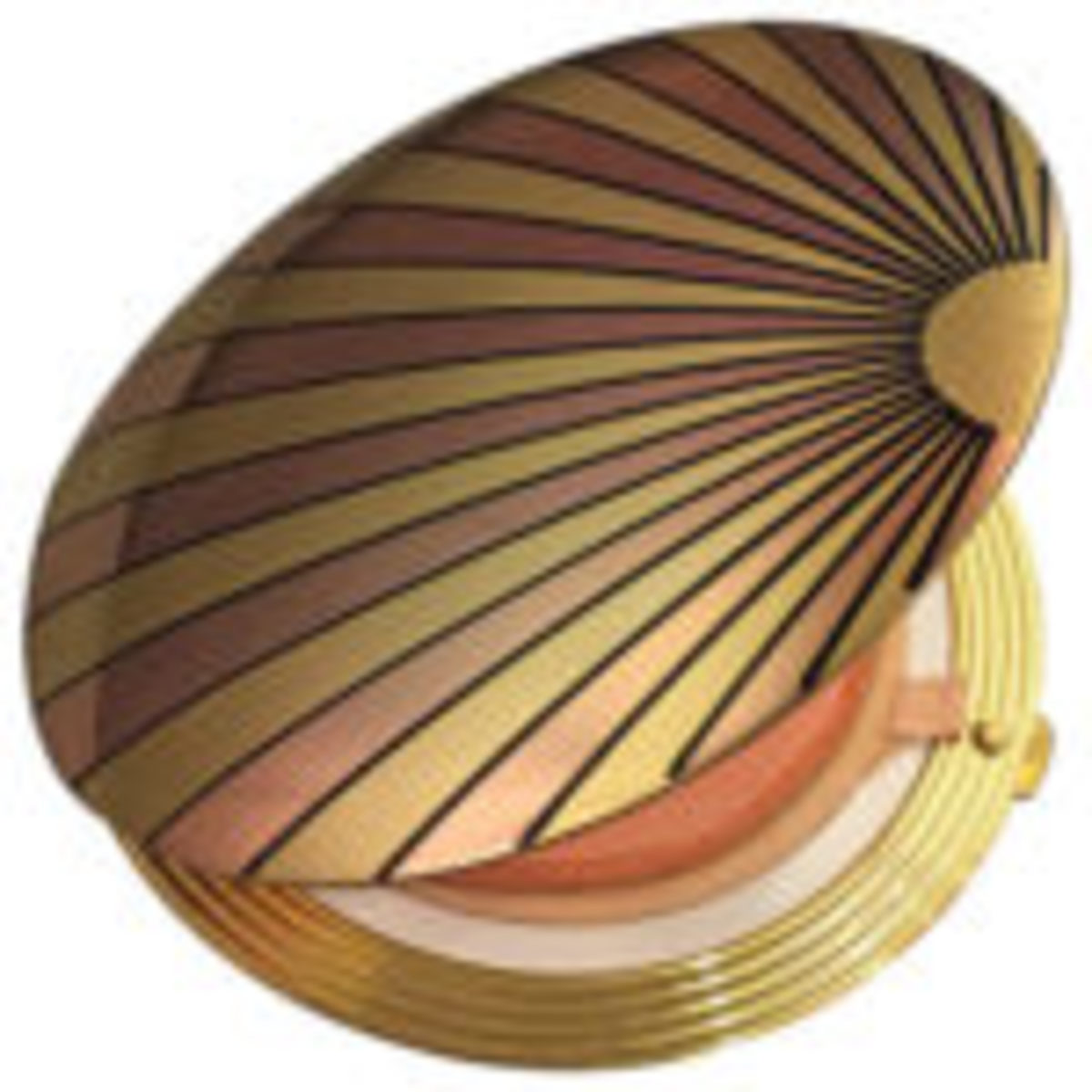 Art Deco-inspired, rose gold and brass sunray motif compact