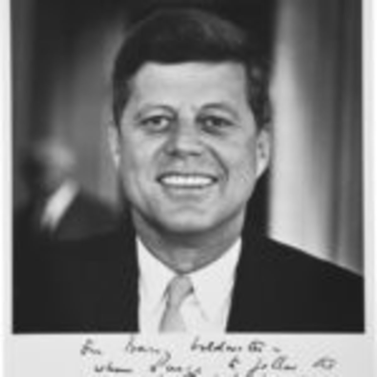 "John F. Kennedy signed photograph with a humorous inscription to Barry Goldwater. This black-and-white 8"" x 10"" image is an original photograph taken by Goldwater. Across the bottom JFK wrote: ""For Barry Goldwater – Whom I urge to follow the career for which he has shown such talent – photography! – from his friend – John Kennedy."" Near-mint condition. $17,925Courtesy of Heritage Auctions, www.ha.com"