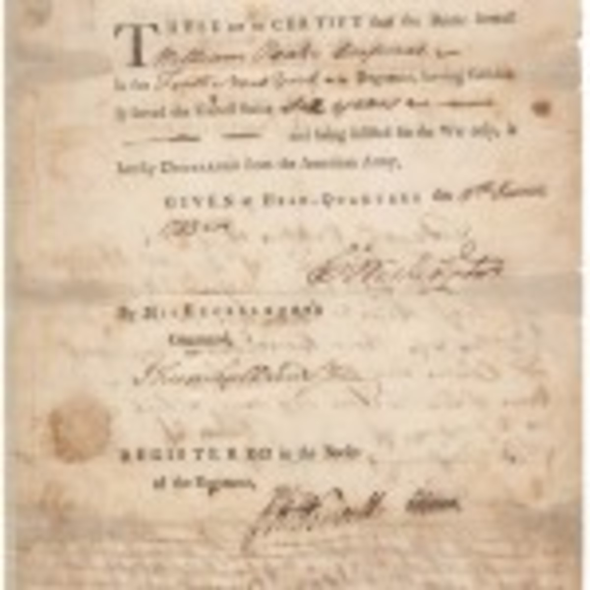 George Washington signed discharge document